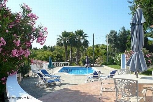 Die Terrasse mit Sonnenschirm und Liegestühlen und der Pool im Hintergrund.