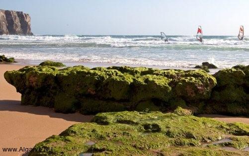 Windsurfen in der Algarve, eine angenehme Brise und Wellen im Portugal.
